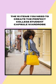 The 15 Items You Need to Create the Perfect College Student Capsule Wardrobe Skater Jeans, Campus Style, College Game Days, Work Tote, Classic Wardrobe, Carry All Bag, Faux Leather Jackets, Striped Tee, College Students