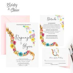 Printable Wedding Invitation Suite / Wedding by BridesandShine Disney Wedding Invitations, Watercolor Wedding Invitations, Wedding Invitation Suite, Quince Ideas, Watercolor Artwork, Reception, Printables, Bride, Handmade Gifts