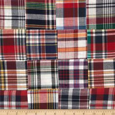 "Madras Plaid Navy/White/Gold/Red from @fabricdotcom  This yarn-dyed cotton Madras fabric has 3"" X 3"" assorted plaid squares pre-sewn together. It is perfect for spring and summer apparel such as shorts, pants, dresses, skirts and lightweight jackets."