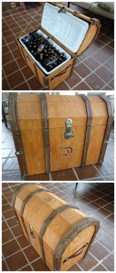 Pirate Chest Beer Cooler #woodworking #summer For more please visit: http://www.flyfreshforever.com