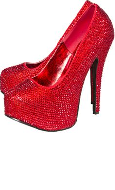 "BORDELLO RHINESTONE HEELS RED        Price:	$138.00    A gal's closet is just not complete without a pair of the Bordello Rhinestone heels! These red platform heels are covered in red sparkly rhinestones. Made of all Man Made Materials.  5 3/4"" heel"