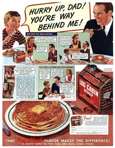 1950s Log Cabin syrup ad with pancakes