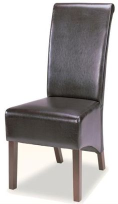 Rolled Back Parson Dining Chair in Chocolate Leather Like Vinyl (Set of 2) by CozyStreet. $218.50. Set of 2 Chairs. Easy Assembly Required. With classic contemporary styling, enhance your dining room table with this charming parson dining side chair. The high profile rolled back and exposed wood legs will bring a luxurious modern appeal to your dining room. Covered in a chocolate by-cast vinyl, this pieces is also available in a burgundy by-cast vinyl or in a microfib...
