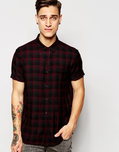 Shirt by ASOS Soft-touch woven fabric Spread collar Button placket Chest  pocket Regular fit - true to size Machine wash Viscose Our model wears a  size ...