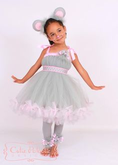 Petti Tutu Dress - Halloween Mouse Costume - Grey and Pink - Mischievous Mouse - 3-4 Toddler Girl - Cutie Patootie Designz via Etsy