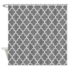 Dark Grey Quatrefoil Shower Curtain on CafePress.com
