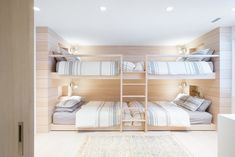 A Spacious, Light-Filled Mountain Retreat With Danish Influence and a Soft Colour Palette (Nordic Design) Built In Sofa, Built In Bunks, Bunk Bed Rooms, Bedrooms, Vancouver House, Bunk Bed Designs, Home And Family, Family Homes, Family Ski