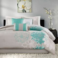 Product Image for Madison Park Lola 7-Piece Comforter Set in Aqua 2 out of 5