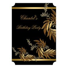 Any Age Elegant Birthday Party Gold Black Floral 6 Personalized Invite