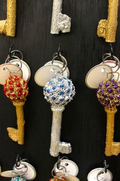 Hand-crafted keys for 2014 Splendor Under Glass -- these are made from Sweet Gum Tree gum balls.  © The Gracious Posse