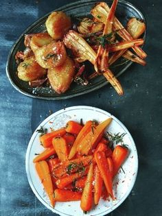 Christmas vegetables, substitute honey for maple syrup to make vegan