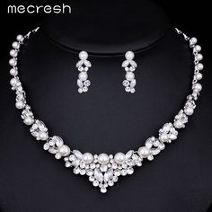 Mecresh Elegant Simulated Pearl Bridal Jewelry Sets Wedding Jewelry Leaf Crystal Silver Plated Necklaces Earrings Sets TL280