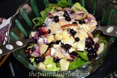 Salad with magic blueberry dressing