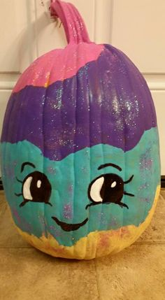 "Lainey's ""Mary Meringue"" Shopkins pumpkin that she actually painted.  Nana painted face."