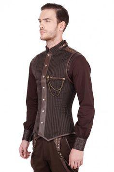 Mens Dankmar Steampunk Overchest Corset Waistcoat Brown VG-16422 - Click to…