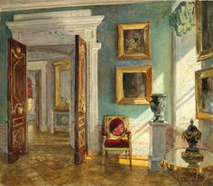 Drawing room and gallery in the Pavlovsk Palace by Stanislav Zhukovsky, for this owner Grand Duke Konstantin Konstantinovich of Russia, known as KR by the Petersburg intellectuals.