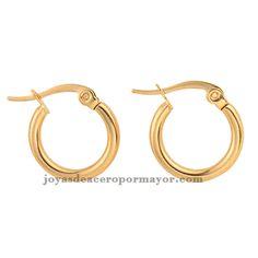 e74d0b832ffe finos aros de 14mm de joyas online en acero dorado Aros De Plata