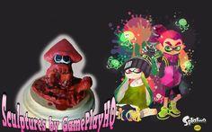 Nintendo Splatoon Figurine Collectable Red Squid Form Hand Made Sculpture Model