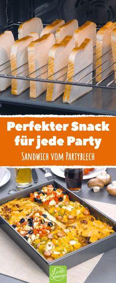 Du kriegst Besuch und suchst ein schnelles aber leckeres Party-Rezept? Wie wäre es mit einem Sandwich in XXL, das eigentlich aus 6 einzelnen Sandwiches besteht? #sandwich #sandwiches #partyrezept Pizza Snacks, Snacks Für Party, Party Platters, Party Buffet, Mini Aperitivos, Toast Pizza, Mini Appetizers, Bulgarian Recipes, Wrap Sandwiches