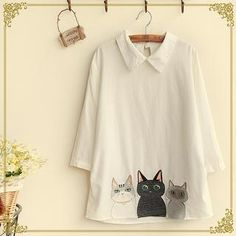 Buy 'Fairyland – 3/4-Sleeve Cat Embroidered Shirt' with Free International Shipping at YesStyle.com. Browse and shop for thousands of Asian fashion items from China and more!