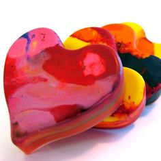 unique and artistic favor!     Recycled Rainbow Crayons  Jumbo Heart Rainbow by art2theextreme, $7.00