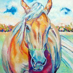 Original Oil Painting Palomino Horse Art 18x18 Peaceful Western  #Impressionism