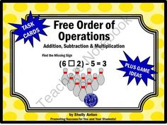 FREE Order of Operations Math Task Cards Common Core Game from Promoting Success on TeachersNotebook.com -  (7 pages)  - Order of Operations Addition, Subtraction & Multiplication Task Cards: These Order of Operations task cards are a great alternative to worksheets! You will receive six math task cards focusing on the order of operations. Students must determine the mi