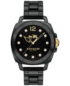 The latest Coach Boyfriend watch makes a bold statement in black-on-black ceramic with a heritage Horse and Carriage logo. Its water-resistant, highly accurate design was created exclusively for Coach