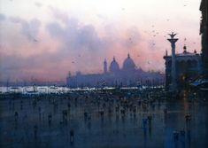 Joseph Zbukvic — Venetian Sunset, 2007. [[MORE]]Painting: Watercolor. Via Art of Darkness: Daily Art Blog