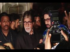 Amitabh Bachchan & Abhishek Bachchan at screening of RUSTOM movie.