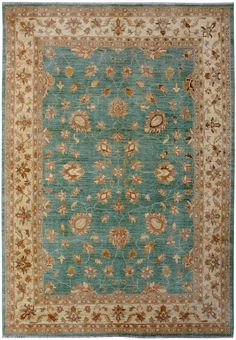 "Turquoise/Green Oriental Oushak Rug 6' 9"" x 9' 9"" (ft) - No. 11436  http://alrug.com/turquoise-green-oriental-oushak-rug-6-9-x-9-9-ft-no-11436.html"