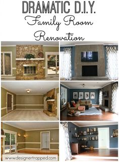PIN NOW, READ LATER!  DIY Family Room Transformation complete with concrete fireplace by Designer Trapped in a Lawyer's Body {www.designertrapped.com}