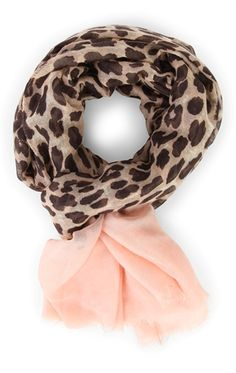 Deb Shops Leopard Print Scarf with Blended Colored Ends $6.00