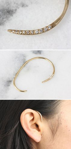 Your place to buy and sell all things handmade - Update your jewelry collection with an enviable and on-trend ear cuff handmade in Brooklyn. Cute Jewelry, Gold Jewelry, Jewelry Box, Jewelry Accessories, Fashion Accessories, Jewelry Design, Fashion Jewelry, Ear Jewelry, Pandora Jewelry