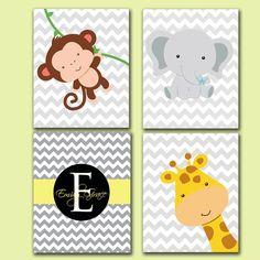 Baby Name Monogram Printable Art SET Jungle Animals Giraffe Monkey Elephant Chevron Gray Yellow Nursery Room Decor 4-8x10 JPEG File High Res on Etsy, $20.00