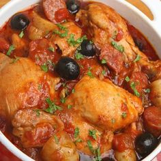 Slow cooker Spanish chicken stew. Delicious chicken stew with vegetables and herbs cooked in slow cooker.