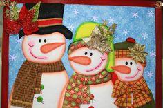 LABORES DE LILIANA: Muñecos de nieve, realizados por Shirley, cuadro en patchwork sin aguja