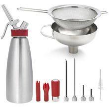 iSi Whip Kit includes iSi Gourmet Whip 1 Quart, iSi Funnel and Sieve, iSi Whip Injector Tips