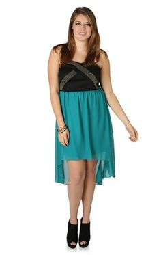 Deb Shops Plus Size Strapless High Low Dress with Studded Criss Cross Bodice $42.90