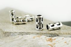 Tube Beads 7x15mm, Antique Silver Spacer beads, Barrel Beads, Silver Metal Patterned Tube Beads, Hole 4.5mm, Jewelry Supplies, 4 pieces