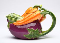 Eggplant and Carrot 0.38-qt. Teapot
