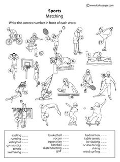 Kids Pages - Sports Matching B