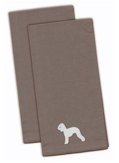 Bedlington Terrier Gray Embroidered Kitchen Towel Set of 2 BB3394GYTWE