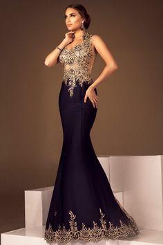 eabf5c7ef vestido madrinha sereia, azul marinho com renda dourada. Atelier Lucinha  Silveira