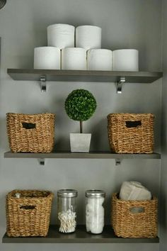 Bathroom Decor shelves bad dekorieren weidenkorb d - bathroomdecor Bathroom Storage Shelves, Bathroom Organization, Organization Ideas, Storage Ideas, Wall Storage, Cabinet Storage, Storage Solutions, Diy Storage, Storage Baskets