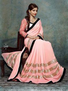 Pink Designer Lace work Saree 1209HB