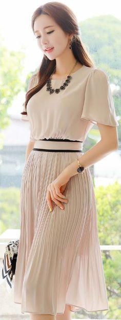 StyleOnme_Short Sleeve Pleated Long Dress #beige #pleats #dress #elegant #feminine #koreanfashion #kstyle #kfashion #seoul #springtrend