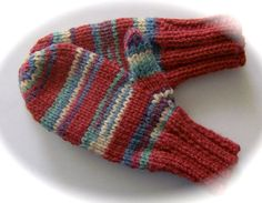 Child's Mittens Hand Knit Brick Multicolor Stripes by lastrose, $6.50