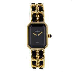 Montre Chanel Premièr en plaquè or et cuir noir, vers 1990