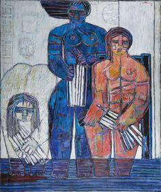 Moshe Tamir - Bathing (1996), Oil on canvas, 120X100 cm.